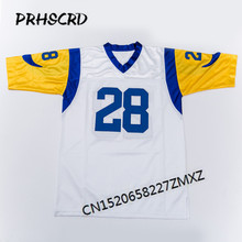 Retro star #28 Marshall Faulk Embroidered Throwback Football Jersey(China)