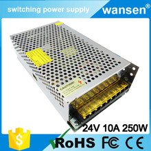 Hot Sale 24v 10a power supply units for pc cost of power supply for computer 24v 10a emachine power supply CE approve S-250-24(China)