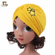 New Kids Head Wrap Children Girls Star pattern Embroidery Turban Hat Knot Headbands(China)