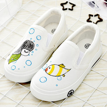 WENDYWU children art craft shoes kids hand painted cartoon pictures sneakers shoes boys girls cool spring autumn shoes for baby(China)