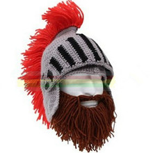 BomHCS Red Tassel Cosplay Roman Knight Knit Helmet Men's Caps Original Barbarian Handmade Winter Warm Beard Hats Funny Beanies(China)