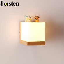 Horsten Japan Style Modern Oak Wood Wall Lamps Cube Sugar Lampshade Bedroom Bedside Wall Light Home Wall Sconce 110-220V(China)