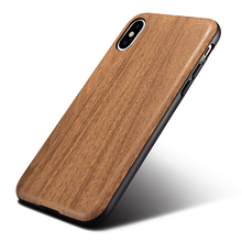 Fashion Wood Grain Silicone Case For Apple iPhone X 360 Full Protection Housing Hard Back Cover Mobile Phone Cases For iPhone X(China)