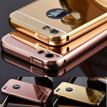 For Coque iPhone 6 6S Case Luxury Gold Plated Metal Aluminum Frame Acrylic PC Mirror Back Cover Case 4S 5 5S SE 5C 6S Plus Capa(China)