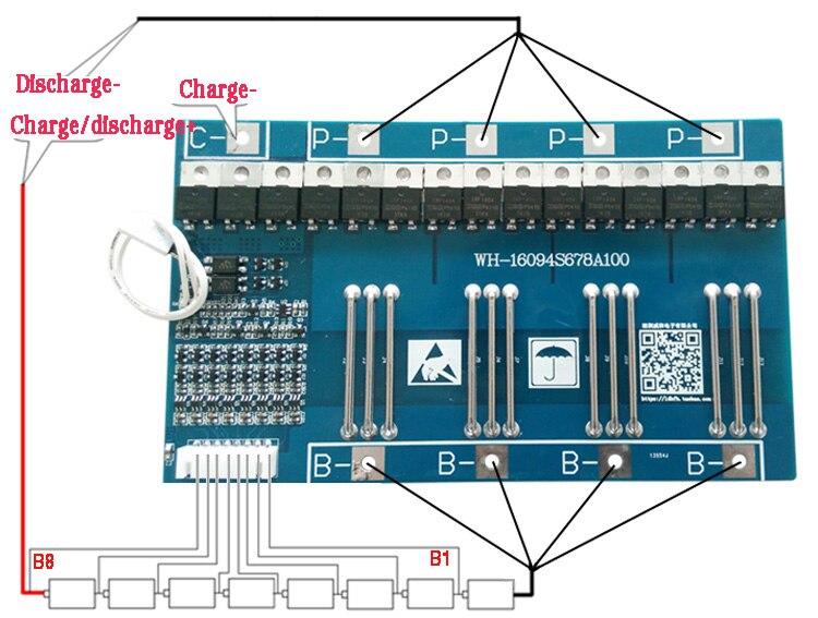 8S BMS 60A LiFePO4 Protection Board Balance PCB  Battery 25.6V 3.2V Sensor
