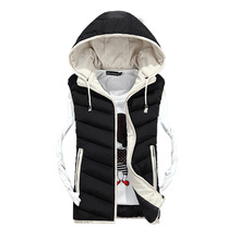 Fashion 2016 new arrival winter men vest Zipper Active Men's Down Vest hooded Sleeveless Waistcoat Jacket Outerwear Warm Y64D(China)