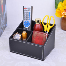 3-slot wood structure leather desk organizer storage box for cosmetics sundries stationery pen pencils holder black 204A