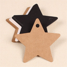 100Pcs Star Kraft Paper Label Wedding Christmas Halloween Party Favor Price Gift Card Luggage Tags White Black Dark khaki(China)