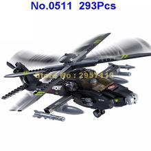 Sluban 0511 293pcs Military Apache Combat Aircraft Helicopter Building Block Brick Toy(China)