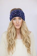 Fashion Winter Bronzing silk braid twist Knit Turban Headband for Women Winter Crochet Headwrap Ear Warmer Hair Accessories