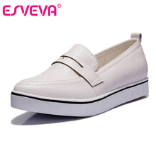 ESVEVA All Match Size 34-40 Fashion White Women Shoes Platform Low Heel Simple Shoes PU Leather Pointed Toe Women Casual Shoes(China)