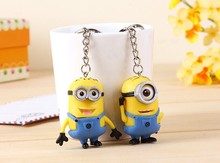Cartoon  Chain Despicable Me 3D Eye Small Minions Figure Kid toy  Keychain 2Pcs/Lot  Free Shipping