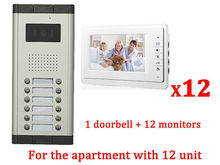 Apartment 12 Unit Intercom Entry System Wired Video Door Phone Audio Visual