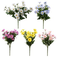 9 Heads Artificial Flower Bouquet Fake Silk Chrysanthemum for Home Decoration Party Supplies