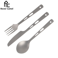 Manufacture Rover Camel Camping Tableware Flatware Eco-friendly Spoon Fork Knife Titanium Cutlery RC838