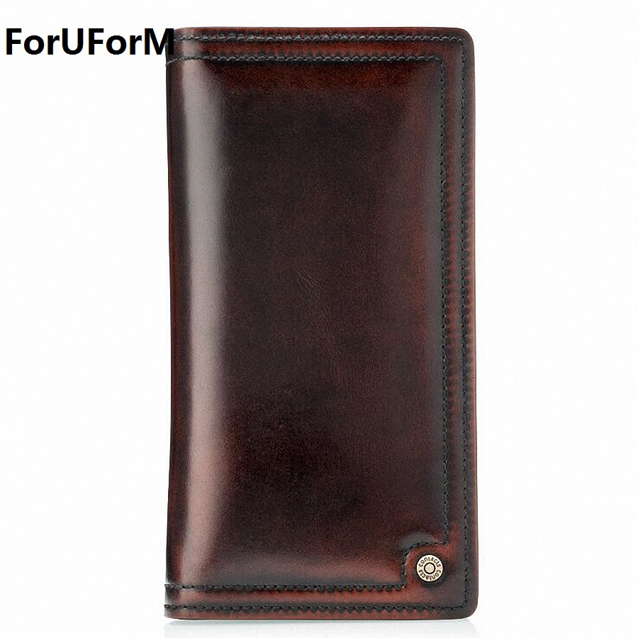 luxury real men 100% genuine leather wallet purses long vintage mens wallet leather genuine wallet man with coin pocket LI-1455<br>
