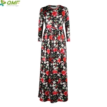 Christmas Flowers Red Black Tennis Dress Long Full Sleeve Party Maxi Dresses Vintage Floral Lady Vestidos Autumn Winter Dress(China)