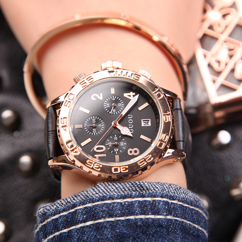 GUOU Fashion Brand Calendar Gold Luxury Top Quality Watch Waterproof Man Ladies Gift Quartz Sports watch Exquisite Wrist watches<br>