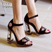 Retro Crystal flower Buckle branded shoes luxury for Female Import Gold Velvet High heels Pumps Chiness style Women's Sandals