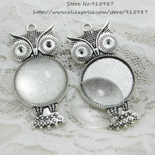5set Antique silver Metal crown owl Fit 25mm Round Cabochon Pendant Setting Vintage Blank Charms + Clear Glass Cabochons A4119-1(China)