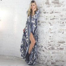 New Arrival 2017 Fashion Summer Women Dressblue and white porcelain print V-neck sexy Bohemian dress Beach holidaying dress