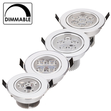 20pcs/lot best price 9W 12W 15W 21W dimmable LED downlights spotlightsAC85-265V silver 110-770LM Cold /Pure/Warm white(China)