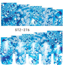 1 Sheets Latest Clear Rhinestones Blue Designs Watermark Full Sticker Decals Nail Art Decorations for Nail Beauty STZ276(China)