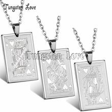 New Fashion Jewelry for Men Playing Cards J Q K Pendant 316L Stainless Steel Men's Necklace 55cm Chain(China)