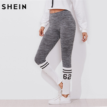 SHEIN Varsity Print Space Dye Leggings Color Block Leggings Active Wear Women's Grey Workout Clothes for Women(China)