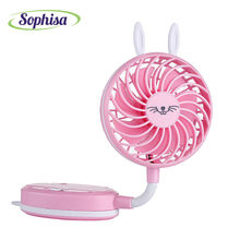 Sophisa cartoon rabbit style folding handheld mini fan usb portable fan desk rechargeable air conditioner for Student Office(China)