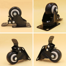 1.5 Inch Black PU Rubber Swivel Caster 4PCS Office Chair Sofa Furniture Hardware Universal Brake Wheels Bearing Capacity 50kg(China)