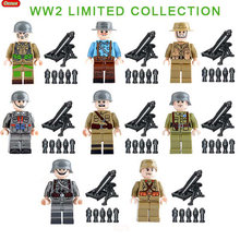 Oenux WW2 Military Figures Soviet USA Italian French British German Chinese Army Mini Doll Building Block MOC Toy For Kids Gift(China)