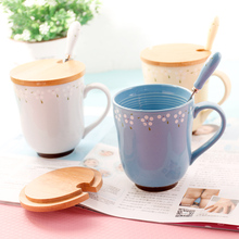 Elegant Fresh Saika Pottery Ceramic Individuality Cup Cute Mug Tea Coffee Europe Milk Cup With Handgrip Lid Spoon