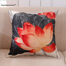 1PC China wind lotus cushion linen cotton embrace pillowcase with core car sofa chair waist pillow OU 037(China)