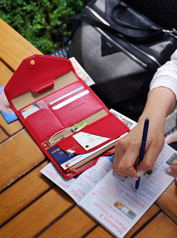 Reispaspoort Cover Opvouwbare Creditcardhouder Geld Portemonnee ID Multifunctionele Documenten Vlucht Bit Licentie Portemonnee Tas PC0045 (15)
