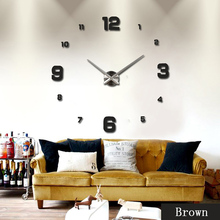 Art Individual Luxury Wall Clock Living Room DIY 3D Home Decor Fashion Modern Large Design Mirror Surface Sticker
