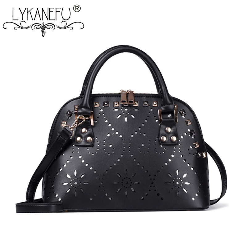 LYKANEFU Hollow Out Woman Handbags Designer Luxury Brand Woman Bag Tote Shoulder Bags Shell Pattern Bolsa Feminina Sac a Main<br>