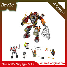 Bevle Store LEPIN 06035 478Pcs Ninja Series Rescue boat salvage M.E.C Model Building Blocks Set Bricks For Children Toys 70592