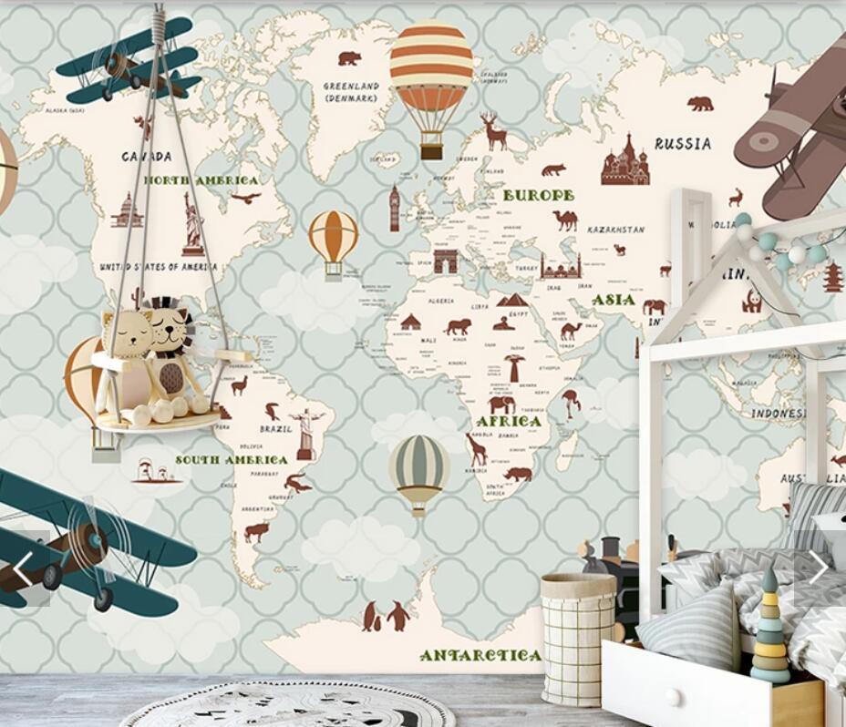3d Carton World Map Wallpaper Mural Kids Bedroom Wallpapers For