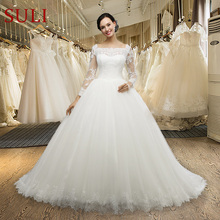 Buy MZ0059 Real Photo Vintage Lace Applique Square Collar Full Sleeve Wedding Dress for $180.47 in AliExpress store