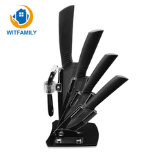 "Kitchen Knife Ceramic Knives Accessories Set 3""Paring 4"" Utility 5"" Slicing 6""Chef Knife+Holder+Peeler Black Blade Christmas Day"