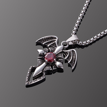 Chunky Men Women Evil Wings Red Zircon Crystal Cross Sword Pendant Necklace Stainless Steel Chain Choker Jewelry Accessories