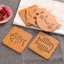 Wooden Vintage Placemat Cup Coaster Creative Cute Animal Table Mat Shape For Bar Coffee And Tea Holder Gift Hot Sale