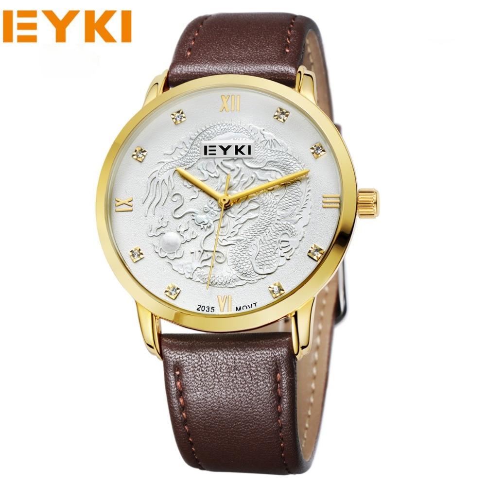 EYKI Brand Women Watches Relogio Masculino Mens Quartz Watch Waterproof Leather Big Dial Luxury Brand Wristwatch Women Clocks<br><br>Aliexpress