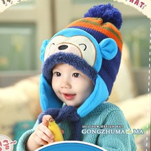 Winter Beanie Cap Kids Infant Cartoon Monkey Crochet Earflap Hat Neck Warmer