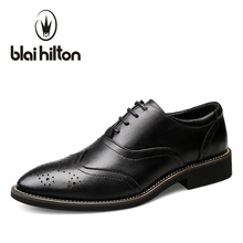 Blaibilton Brand Formal Dress Men Shoes Genuine Leather Brogue Business Classic Office Wedding Mens Casual Oxford Italian SD3018(China)