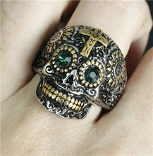 Size 7 to 14 Cool Jesus Cross Skull Ring Green Eyes 316L Stainless Steel Fashion Original Design Motor Biker Skull Ring(China)