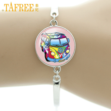 TAFREE An illustration of happy Bracelets kids in school bus british London double Bus Vector cartoo Photo Jewelry H163(China)