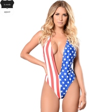 American Flag Print Monokinis Deep V Neck One Piece Swimsuit 2017 Swimwear Women Bathing Suit Stars and Striped maillot de bain(China)