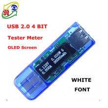 RD White 4 bit color OLED USB detector USB voltmeter ammeter power capacity tester meter voltage current power bank charger(China)